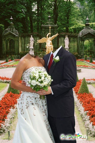 Template for a photomontage - A  newly-married couple (2)
