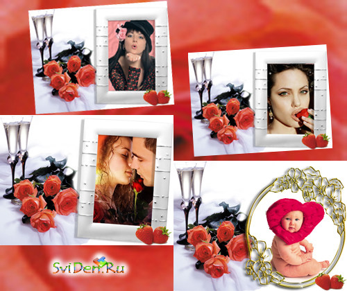 Photoframes - Roses and strawberries