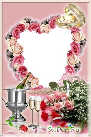��������� ����� Wedding frame with roses