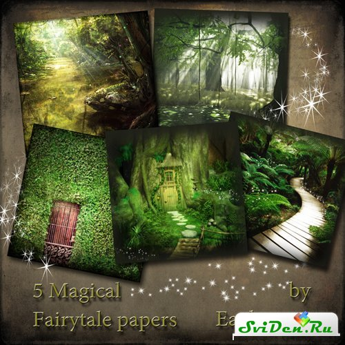 Фоны для фотошопа - 5 Magical Fairytale papers