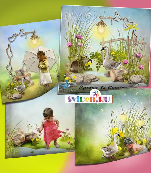 Скрап весенней цветочной тематики