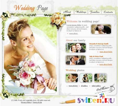"Flash Template for Website - ""Wedding Page"""
