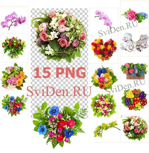 Цветочный клипарт - Яркие букеты PNG