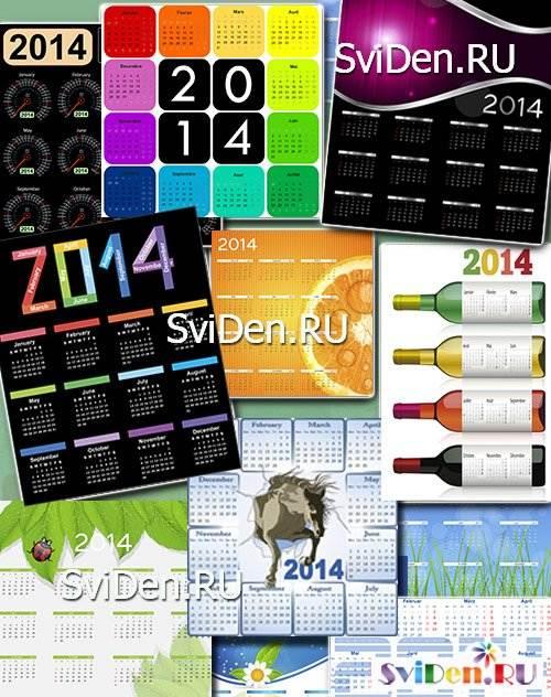 2014 креатив в векторе calendar grid 2014